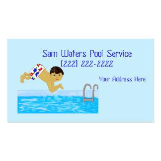 Modelo da natação do menino da piscina cartão de visita