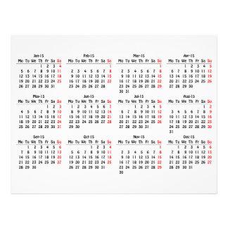 modelo de 2015 calendários modelos de panfleto