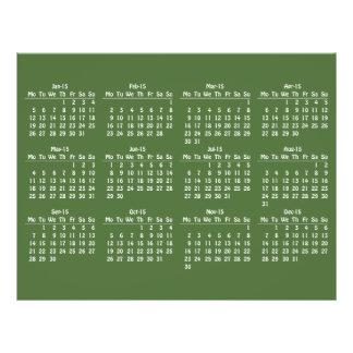 modelo de 2015 calendários panfletos coloridos