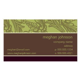Modelo de cartão de negócios chique verde-oliva do cartão de visita