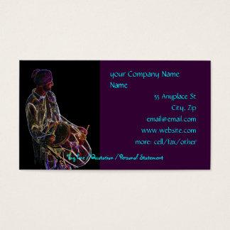 Modelo de cartão de negócios de néon do baterista