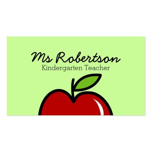 Modelo de cartão de negócios do professor com maçã cartões de visita