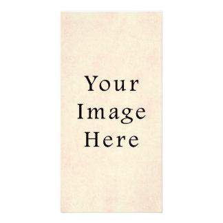 Modelo de creme amarelo pálido do papel de pergami cartão com foto personalizado