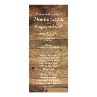 Modelo de madeira do programa do casamento do 10.16 x 22.86cm panfleto