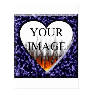 Modelo de mármore azul com abertura do coração cartão postal