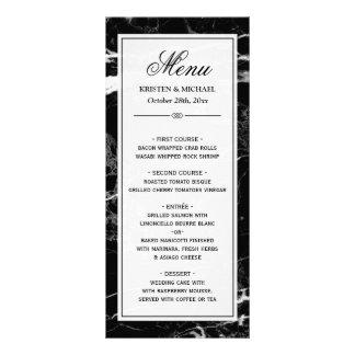 Modelo de mármore branco preto elegante do menu do 10.16 x 22.86cm panfleto