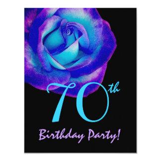 modelo do aniversário do 70 roxo e rosa 002 do convite 10.79 x 13.97cm