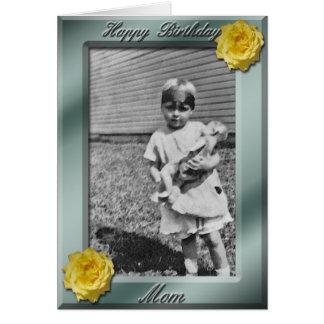 Modelo do cartão com fotos da mamã do feliz