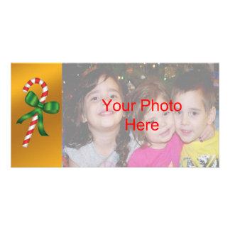 Modelo do cartão com fotos do bastão de doces do cartão com foto