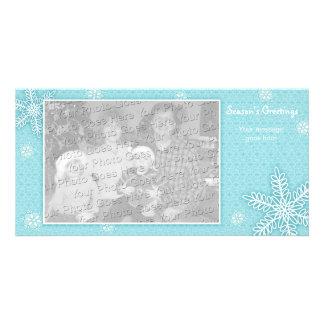 Modelo do cartão com fotos do feriado dos flocos d cartão com foto