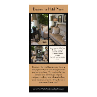 Modelo do cartão da cremalheira, hotéis, negócios, 10.16 x 22.86cm panfleto