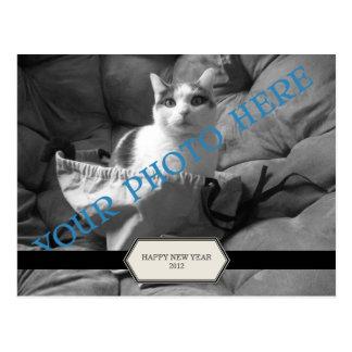 Modelo do cartão da foto do subtítulo da etiqueta cartão postal