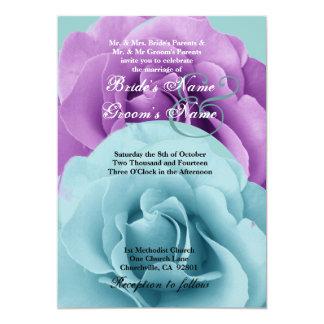 Modelo do casamento do rosa do azul e do roxo de convite 12.7 x 17.78cm