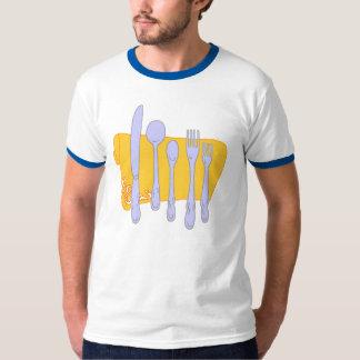 Modelo do design do cozinhar da louça camiseta