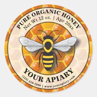 Modelo do favo de mel da etiqueta do mel do Apiary