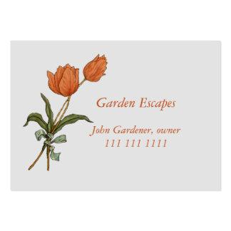 Modelo do jardim da paisagem com tulipas cartão de visita grande