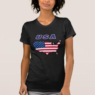 Modelo do mapa da bandeira dos EUA Tshirt