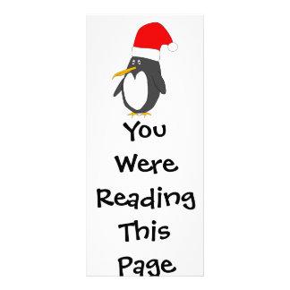 Modelo do marcador do pinguim do papai noel 10.16 x 22.86cm panfleto