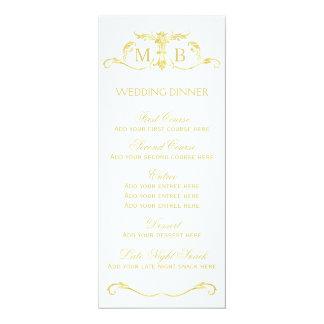 Modelo do menu do comensal de casamento do ouro convite 10.16 x 23.49cm