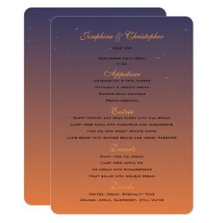Modelo do menu do por do sol convite 11.30 x 15.87cm