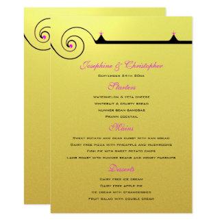 Modelo do menu do redemoinho do ouro convite 11.30 x 15.87cm