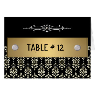 Modelo do número da mesa do casamento tema damasco cartões