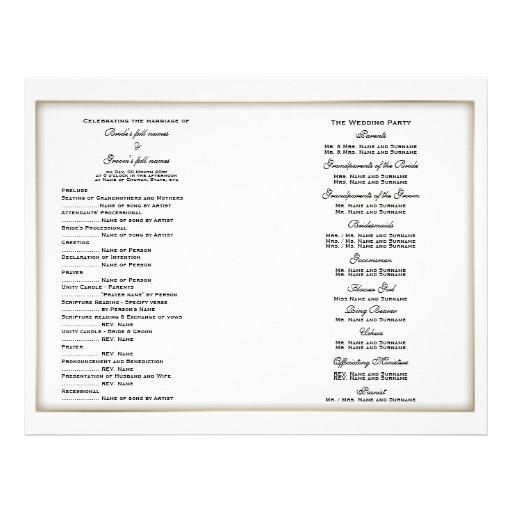 Modelo do programa do casamento (quatro) panfletos personalizado