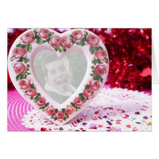 Modelo do quadro do coração cartão comemorativo