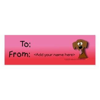 Modelo do Tag do presente do cão rosa e vermelho Modelos Cartoes De Visita