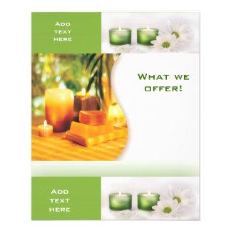 Modelo do verde 3 dos termas do salão de beleza do panfletos