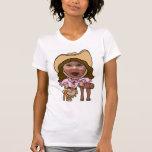 Modelo engraçado da cara da foto da vaqueira t-shirt