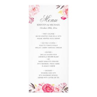 Modelo floral chique romântico do menu do 10.16 x 22.86cm panfleto