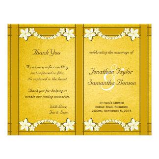 Modelo floral do programa do casamento do ouro flyer 21.59 x 27.94cm