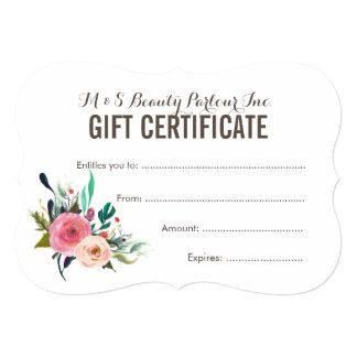 Modelo floral pintado do certificado de presente convite 12.7 x 17.78cm