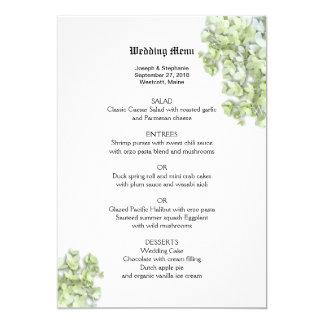 Modelo floral verde do menu do casamento do convite 12.7 x 17.78cm