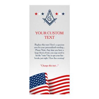 Modelo maçónico do cartão da bandeira americana, 10.16 x 22.86cm panfleto