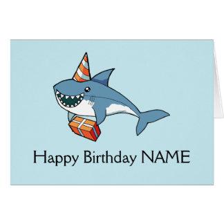 Modelo personalizado cartão do tubarão do feliz