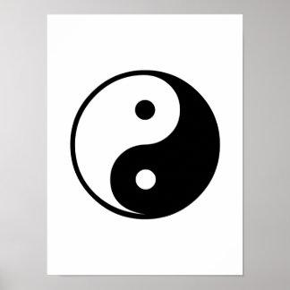 Modelo preto e branco da ilustração de Yin Yang Pôster