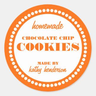 Modelo redondo da etiqueta do biscoito dos pedaços