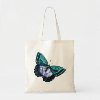 Modelo roxo azul colorido da borboleta do vintage sacola tote budget