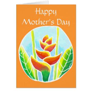 Modelo tropical do cartão de MothersDay da flor de