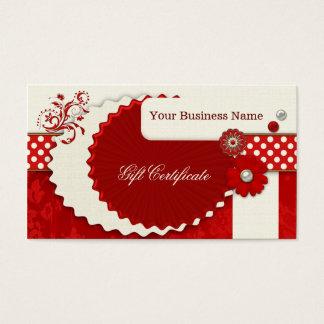 Modelo vermelho festivo do certificado de presente cartão de visitas
