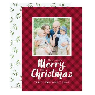 Modelo vermelho rústico do cartão de Natal da