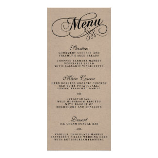 Modelos elegantes do menu do casamento de Kraft 10.16 X 22.86cm Panfleto