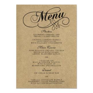 Modelos elegantes do menu do casamento de Kraft Convite 11.30 X 15.87cm