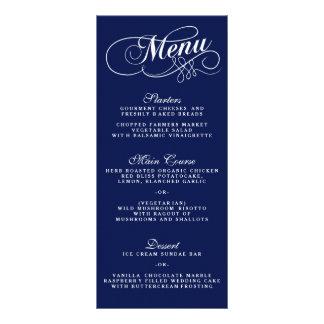 Modelos elegantes do menu do casamento dos azuis 10.16 x 22.86cm panfleto