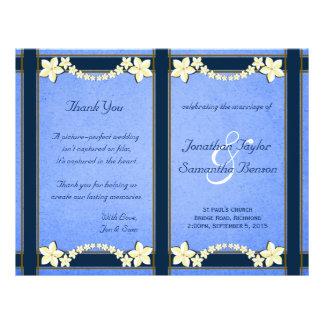 Modelos florais azuis rústicos do programa do flyer 21.59 x 27.94cm