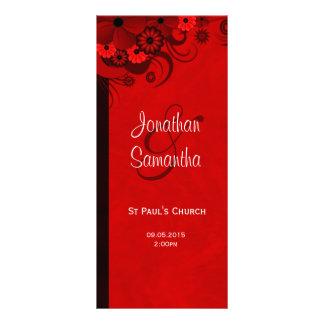 Modelos florais vermelhos do programa do casamento 10.16 x 22.86cm panfleto