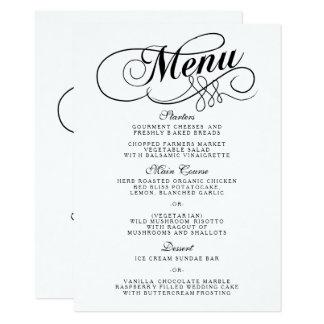 Modelos preto e branco elegantes do menu do convite 11.30 x 15.87cm