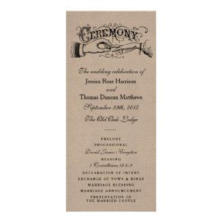 Modelos rústicos do programa da cerimónia de 10.16 x 22.86cm panfleto